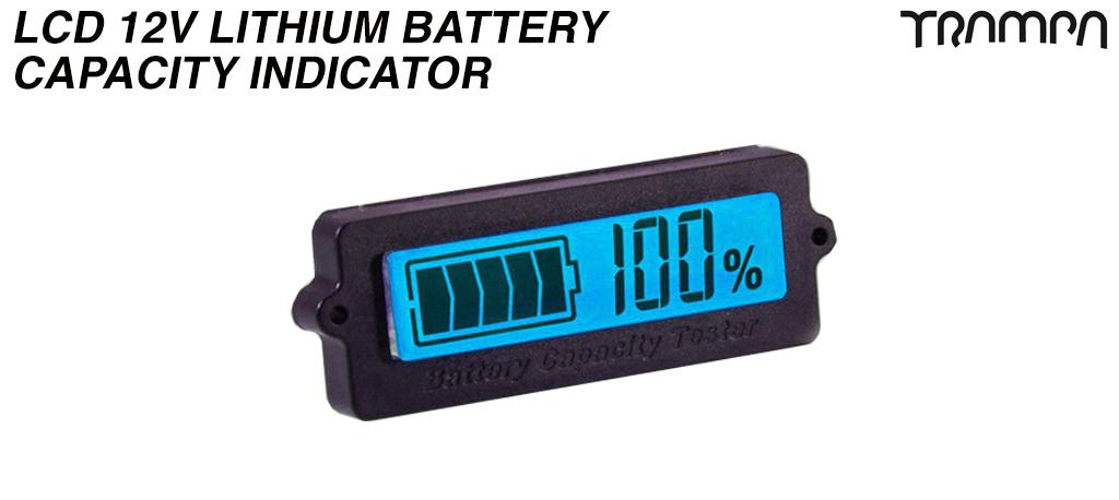 LCD 12V Lithium Battery Capacity Indicator - BLUE Screen