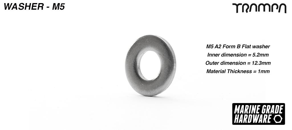 M5 Washer BZP Bright Zinc Plated Form G 1.6mm thick