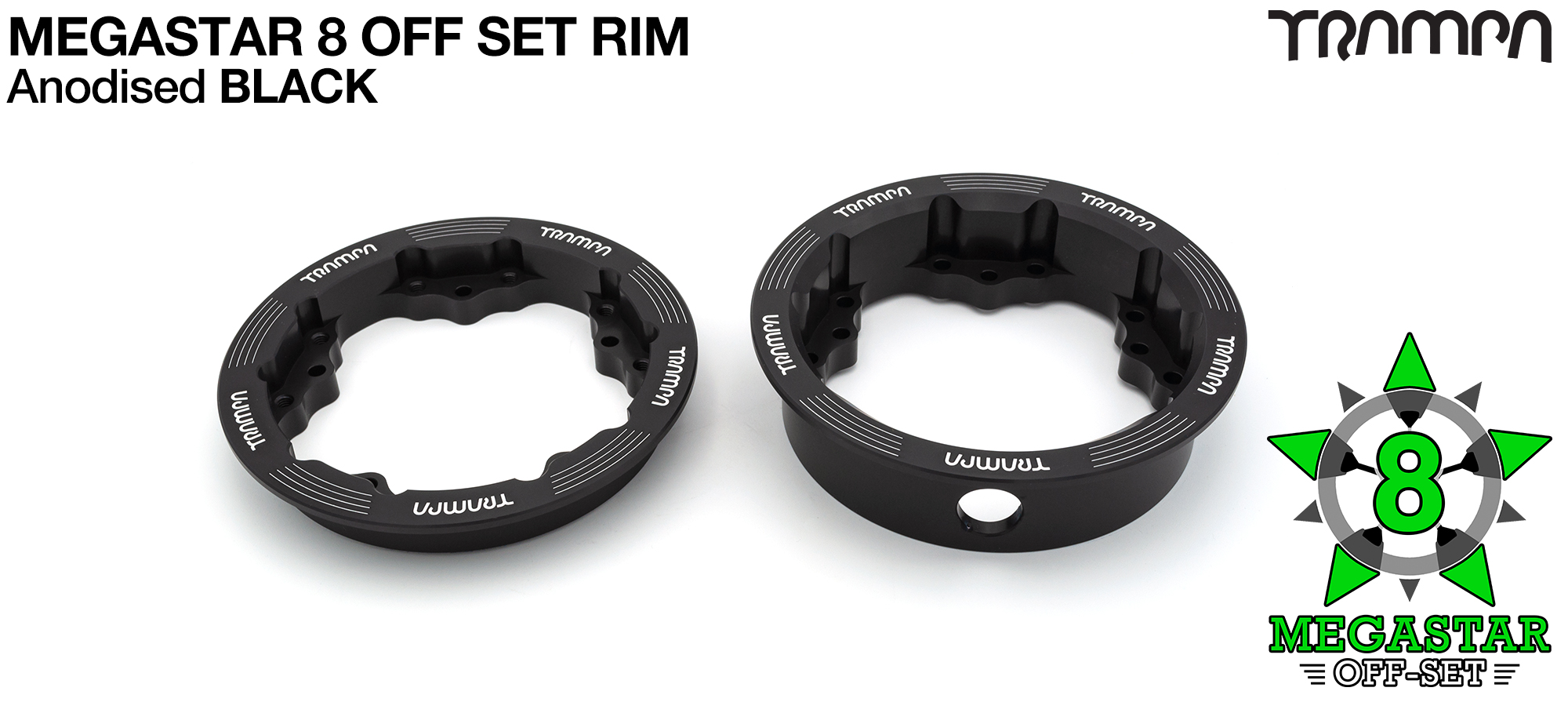 8 inch OFF-SET MEGASTAR Rims on the FRONT - BLACK