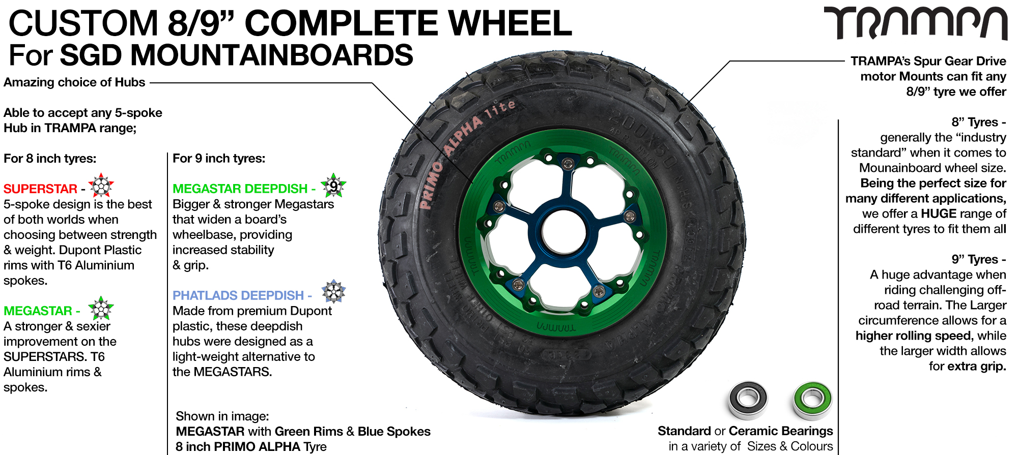 Build your own Custom TRAMPA Wheel - SUPERSTAR, 8 Inch MEGASTAR, 9 Inch PRIMO or 9 INCH DEEP DISH MEGASTAR Wheels! Awesome selection for on & off road! Amazing!!