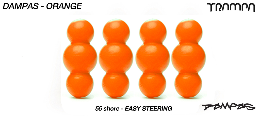 ORANGE TRAMPA Dampa's 55a Shore set of 4 Super-Duper soft