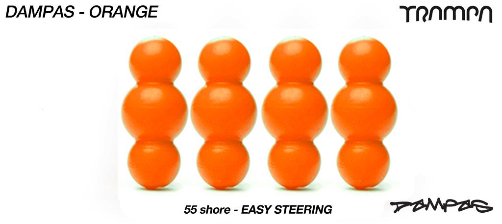ORANGE TRAMPA Dampa's 55a Shore set of 4 Super-Duper soft