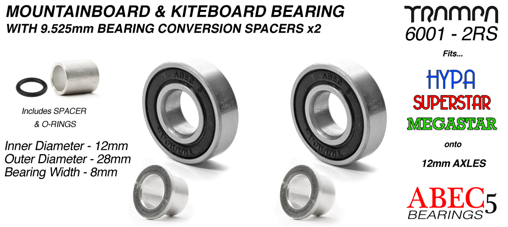 BLACK 12mm ATB Bearings - 12mm x 28mm axle ABEC 5 rated with conversion spacers x 2