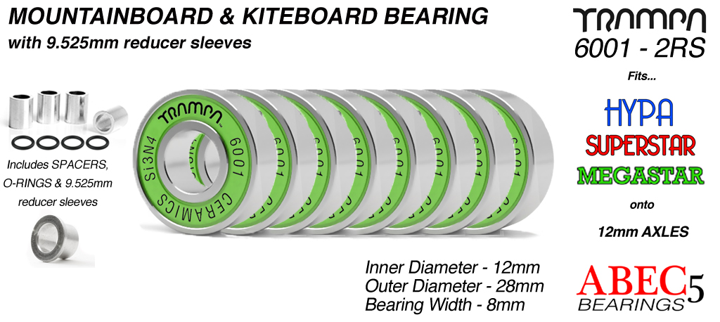 GREEN 12x28mm CERAMIC Mountainboard Bearings & 9.525mm Reducer Sleeves (+£25)