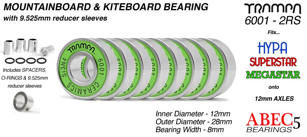 CERAMIC 12x28mm Bearings & 9.525mm Reducers x8 (+£27.50)