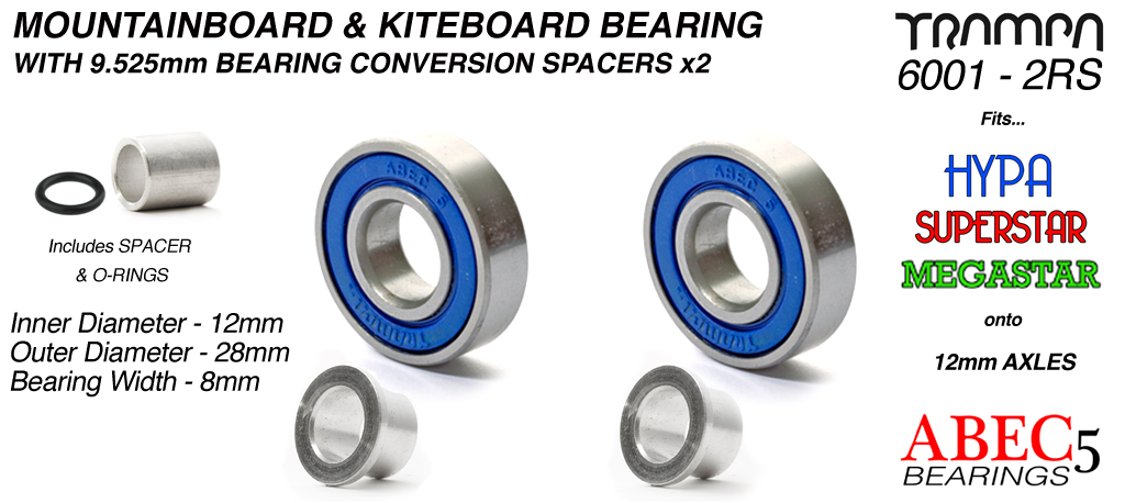 BLUE 12mm ATB Bearings - 12mm x 28mm axle ABEC 5 rated with conversion spacers x 2