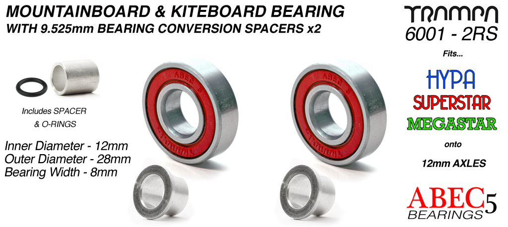 RED 12mm ATB Bearings - 12mm x 28mm axle ABEC 5 rated with conversion spacers x 2
