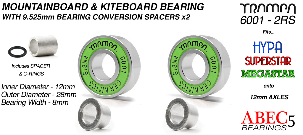 GREEN 12mm ATB Bearings - 12mm x 28mm axle ABEC 5 rated with conversion spacers x2