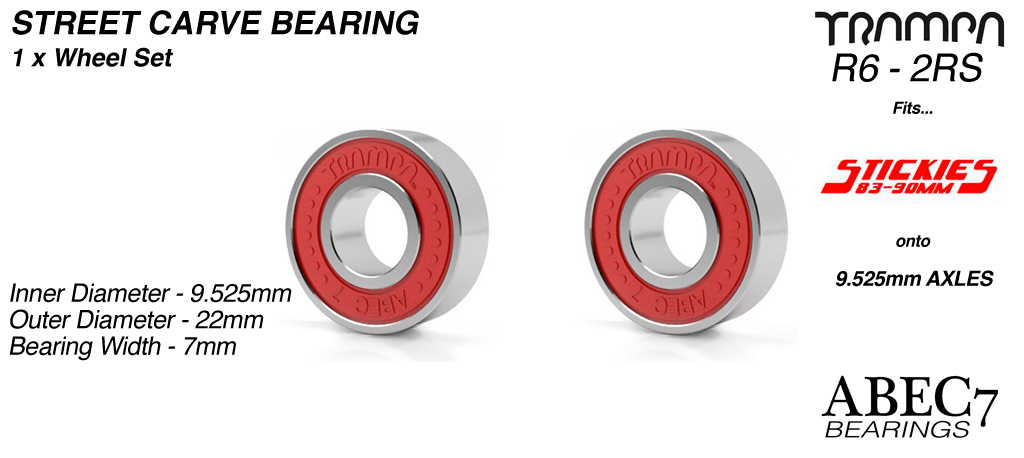 2x RED ABEC 7 R6-2RS 9.525mm Bearings (+£5)