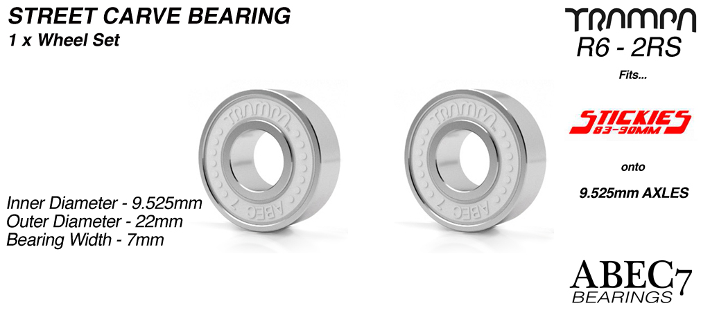 2x WHITE ABEC 7 R6-2RS 9.525mm Bearings (+£5)