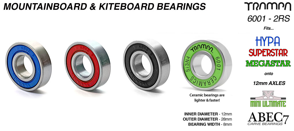 Mountainboard ABEC 5 Bearing 6001 2RS  (12 x 28 x 8mm) Removable sidewalls with Embossed Logo