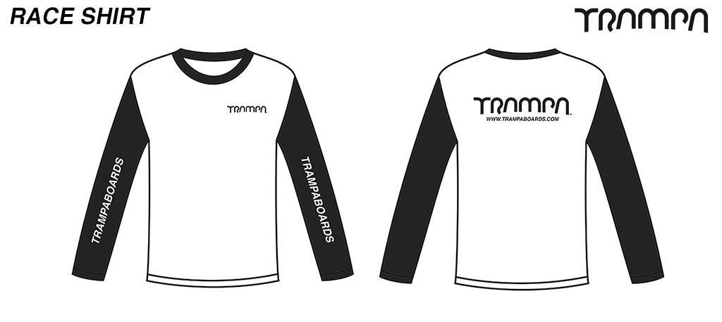 BLACK Fruits of the Loom Long Sleeve TRAMPA Race shirt Organically printed Black & White
