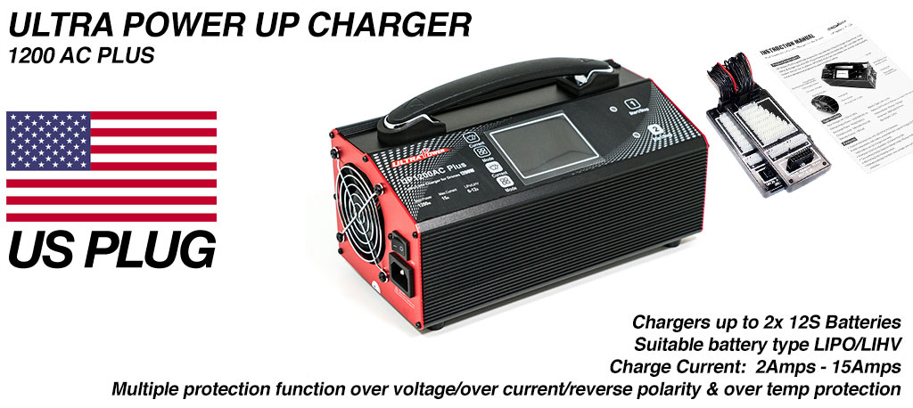 ULTRA POWER Charger 2x 600W, 15A, 12s Charger - UP1200AC PLUS - COMES Supplied with USA wall PLUG