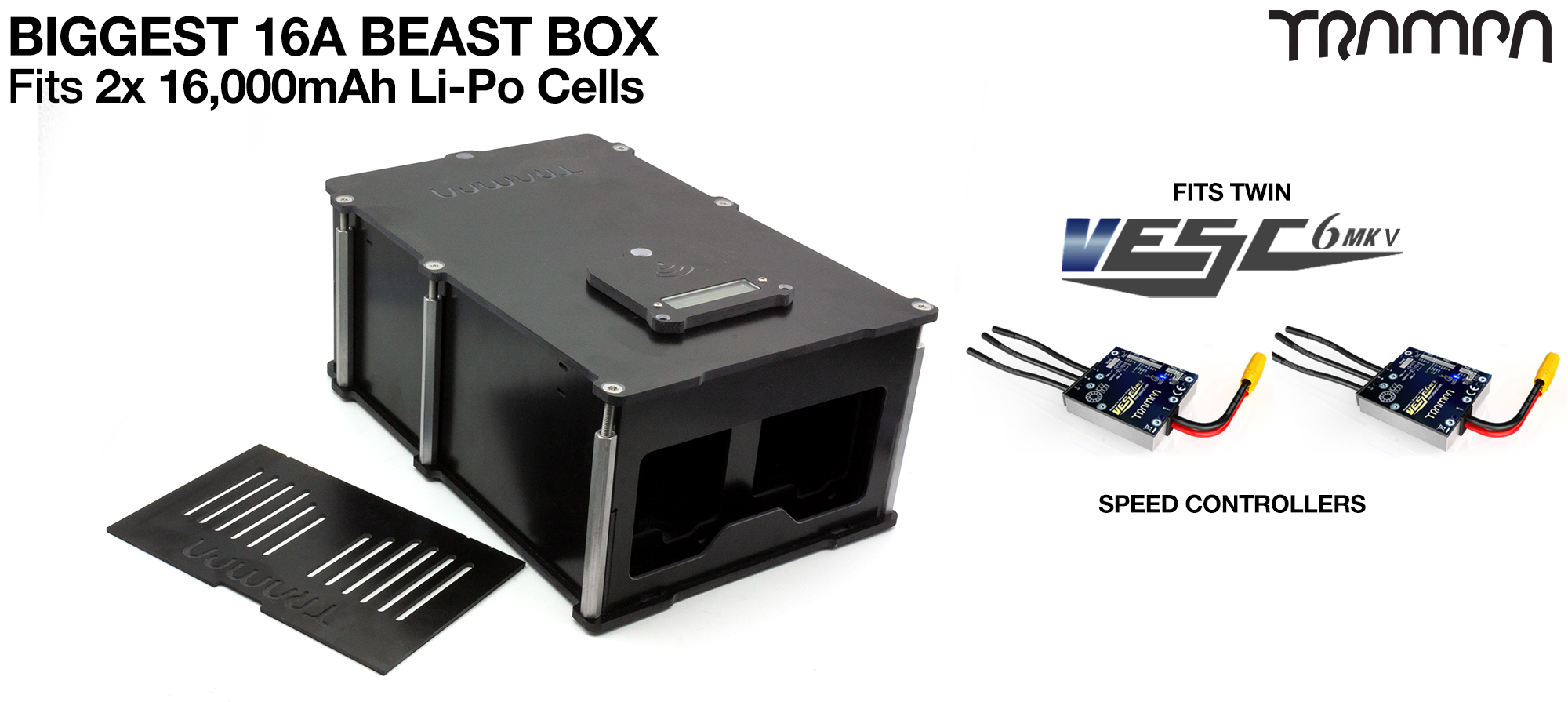 BEAST Box to fit 2x 6s 16000 mAh cells with Internal VESC Housing - TWIN Motor