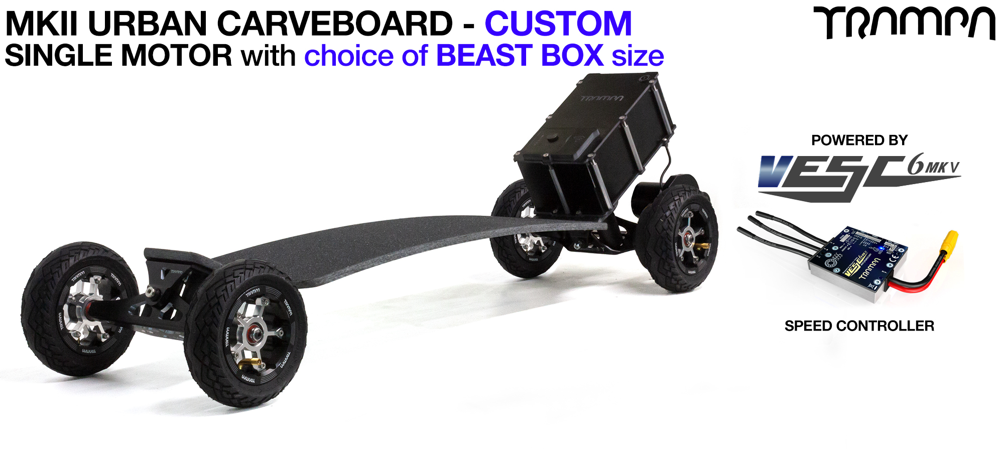MkII TRAMPA Electric URBAN Carveboard with V6 VESC & 6.2A BEAST Box Mini Spring Trucks with 6 or 7 inch Wheels - SINGLE Motor CUSTOM