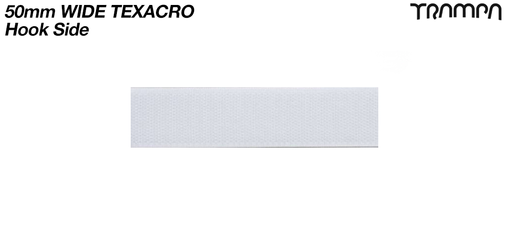 50mm wide White Texacro (hook & loop tape) - HOOK only