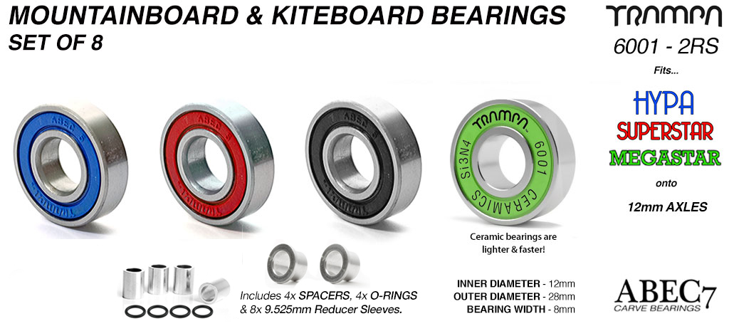 12mm ATB Bearings with 9.525mm Bearing Reducer Sleeves for complete board