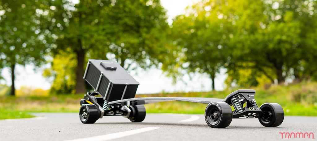 TRAMPA Electric TWIN MOTOR Street Carver Motor with 2x VESC & 16A BIGGEST Beast Box, Mini Spring Trucks & Stickies Longboard Wheels - 16A FULLY LOADED