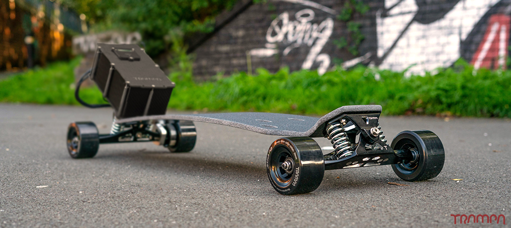 TRAMPA Electric Street Carver with V6 VESC & 12000 mAh BIGGER Beast Box, Mini Spring Trucks & Stickies Longboard Wheels - SINGLE MOTOR