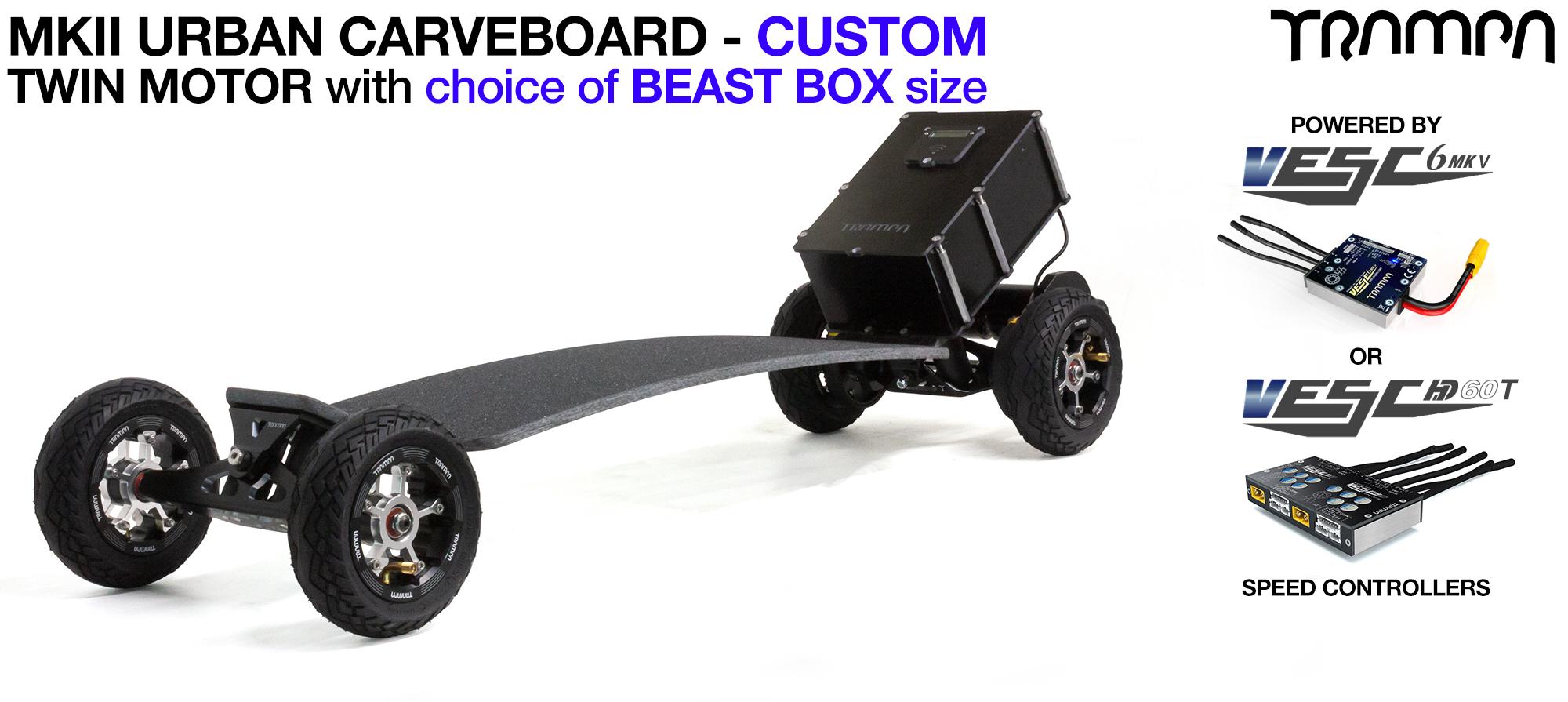 MkII TWIN Motor TRAMPA Electric URBAN Carveboard with 16A BEAST Box, VESC MKIII & OFF-SET MEGASTAR Wheels as standard