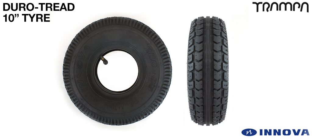10 inch INNOVA DURO-TREAD Tyres on the FRONT (+£25)