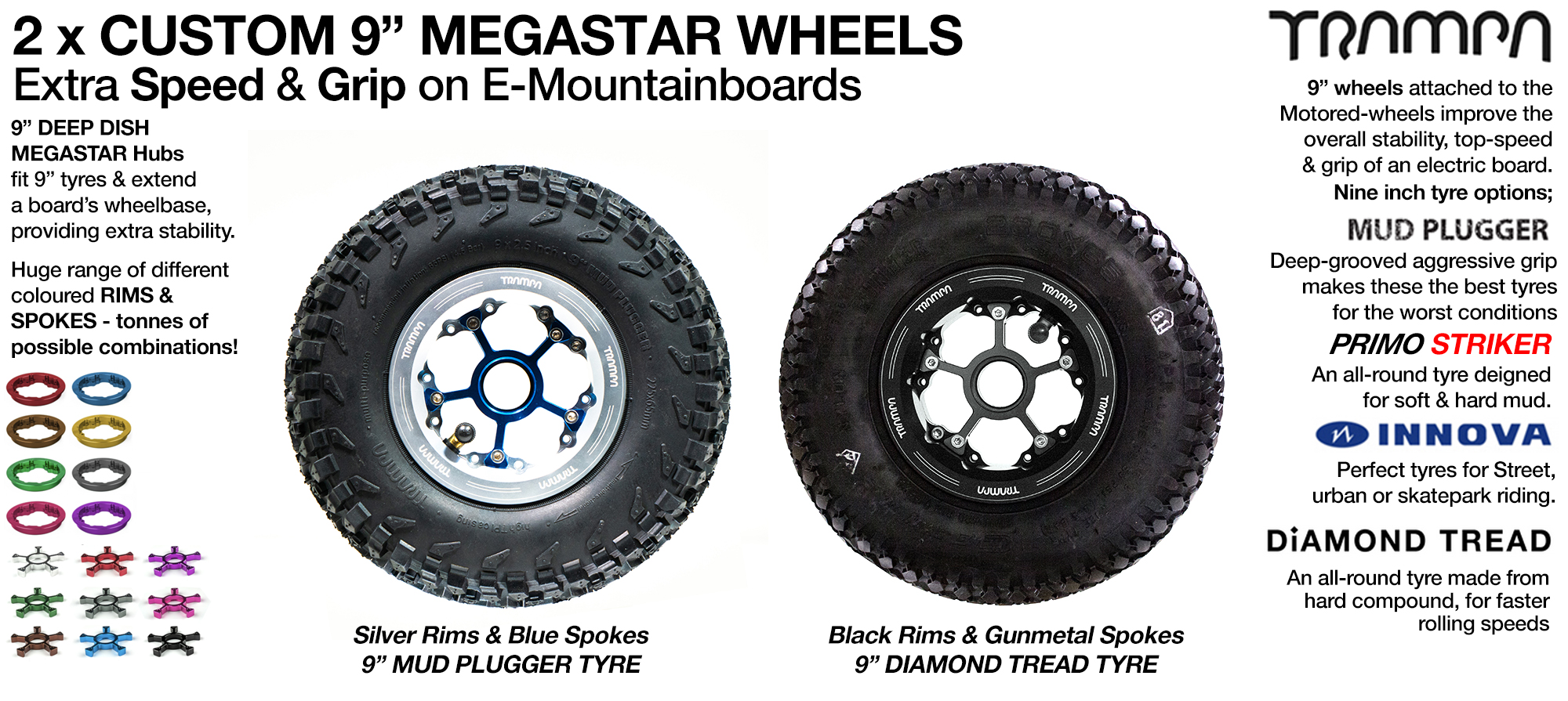 2x 9 inch MEGASTARS Wheel  Special offer for Complete Boards