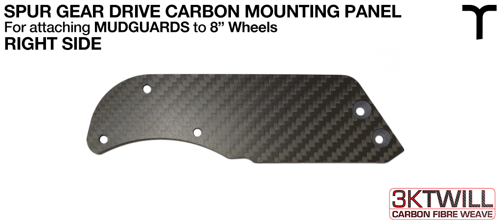 8 inch Mud Guard 3mm Carbon Fibre SPUR GEAR DRIVE Mounting Panel - RIGHT Part 3