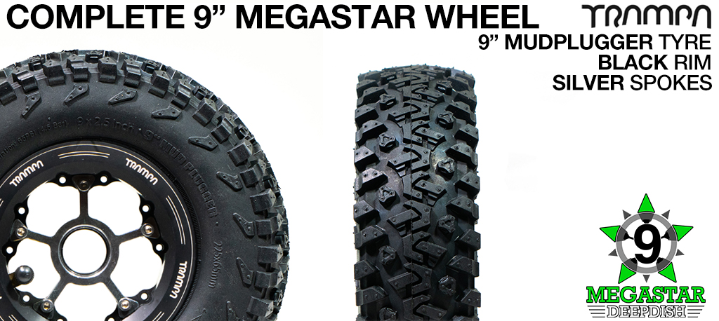BLACK 9 inch Deep-Dish MEGASTARS Rim with Silver Spokes & 9 Inch MUD-PLUGGER Tyres