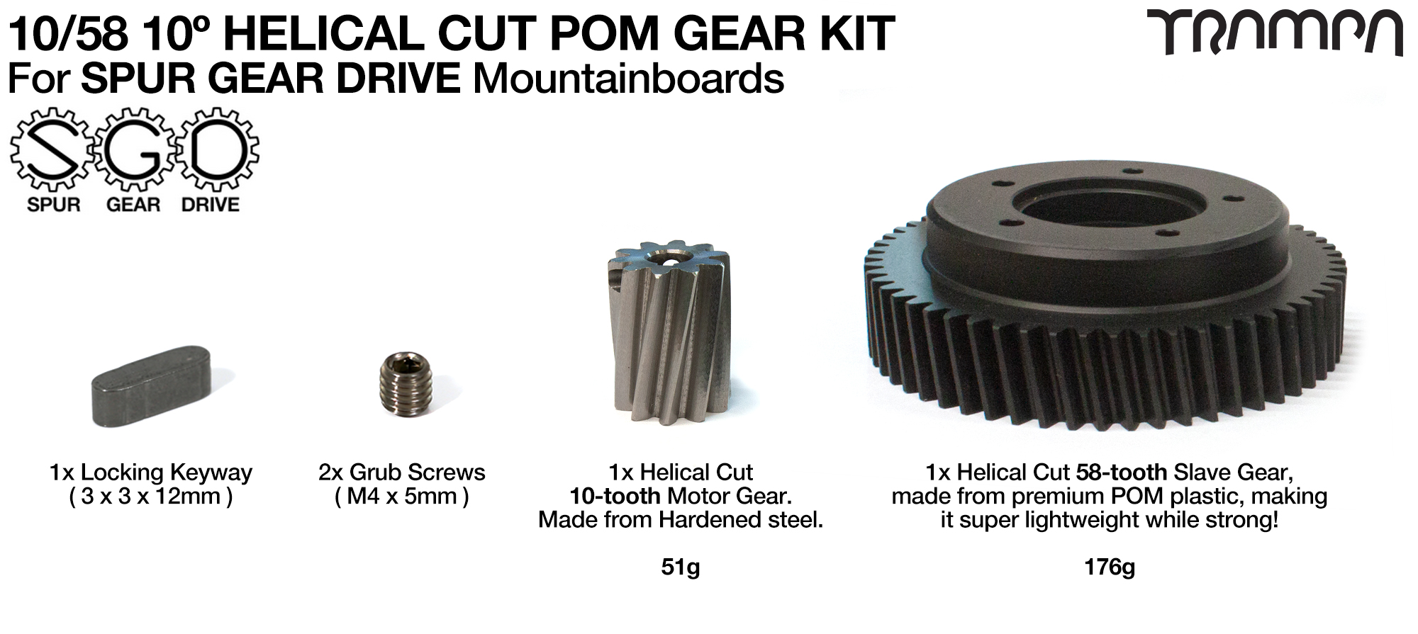 10/58 (1-5.8 Ratio) 10º HELICAL Cut POM Gears