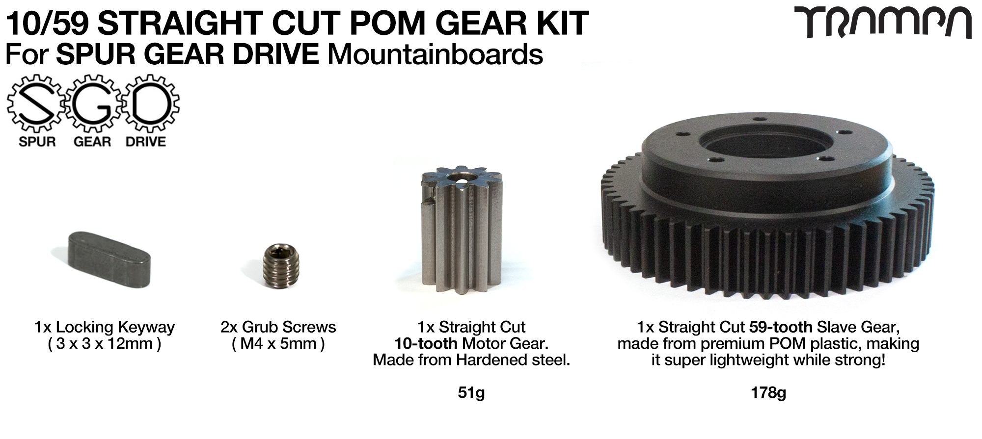 PRO SPUR GEAR DRIVE STRAIGHT Cut Pulley Kit for 2x 8 inch SUPERSTAR or 9 Inch MEGASTAR wheels