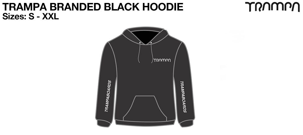 BLACK Starworld Ultimate Hooded Sweat with SILVER TRAMPA Logos