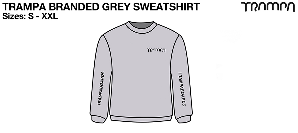 GREY GILDAN HEAVYWEIGHT Sweatshirt with Black TRAMPA Logo's