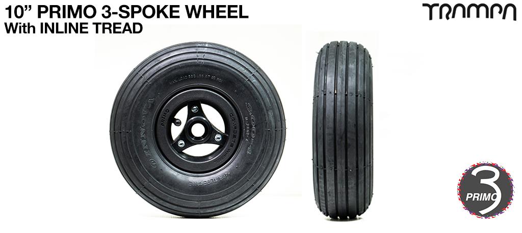 10 inch Wheel - Primo 3 Spoke INLINE Tread