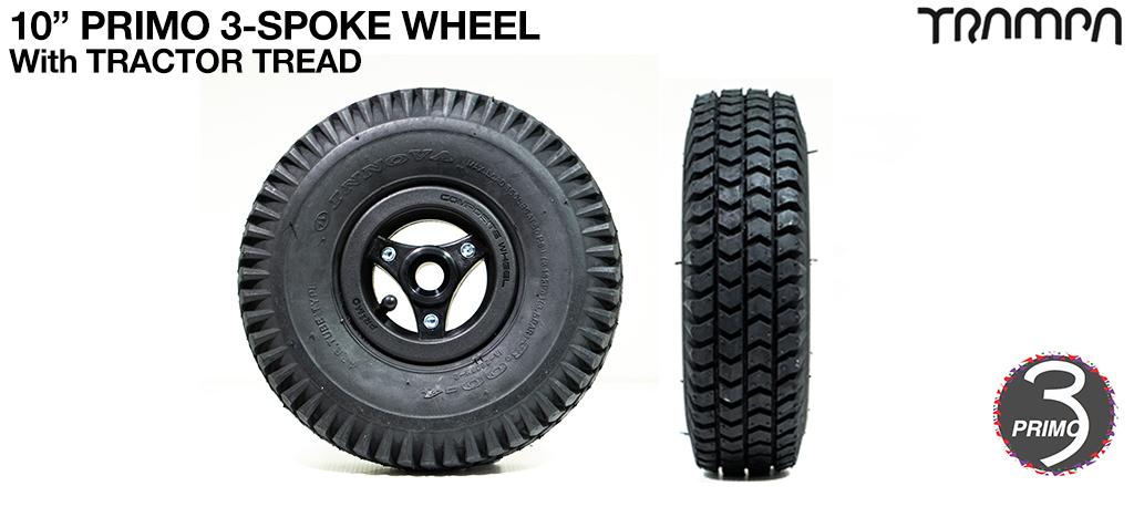 10 inch Wheel - Primo 3 Spoke TRACTOR Tread