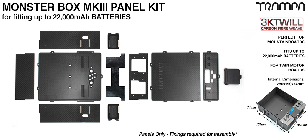 MONSTER Box Carbon Fiber Panel Kit MkIII with internal chamber for TWIN VESC