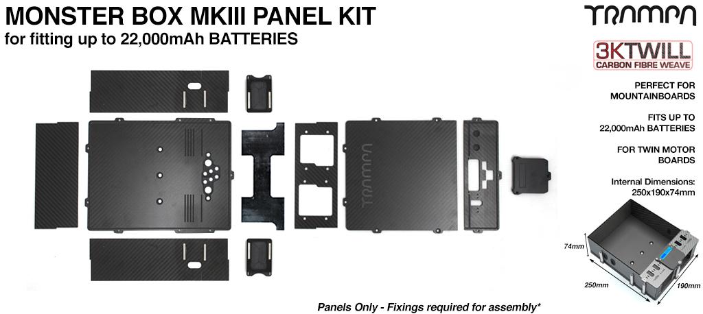 MONSTER Box Carbon Fiber Panel Kit MkIII with internal chamber for TWIN VESC