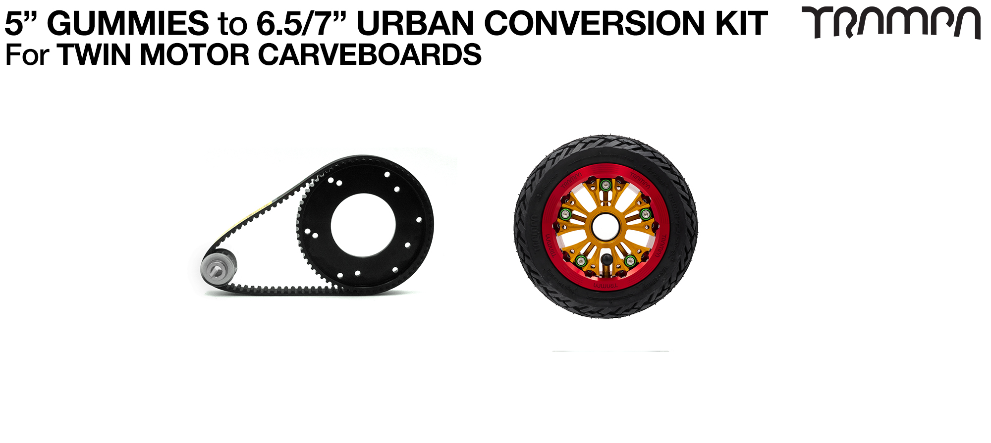 Gummies to Urban Carveboard complete Conversion kit with 4x 7 Inch Custom SUPERSTAR wheels & TWIN Motor Mounts