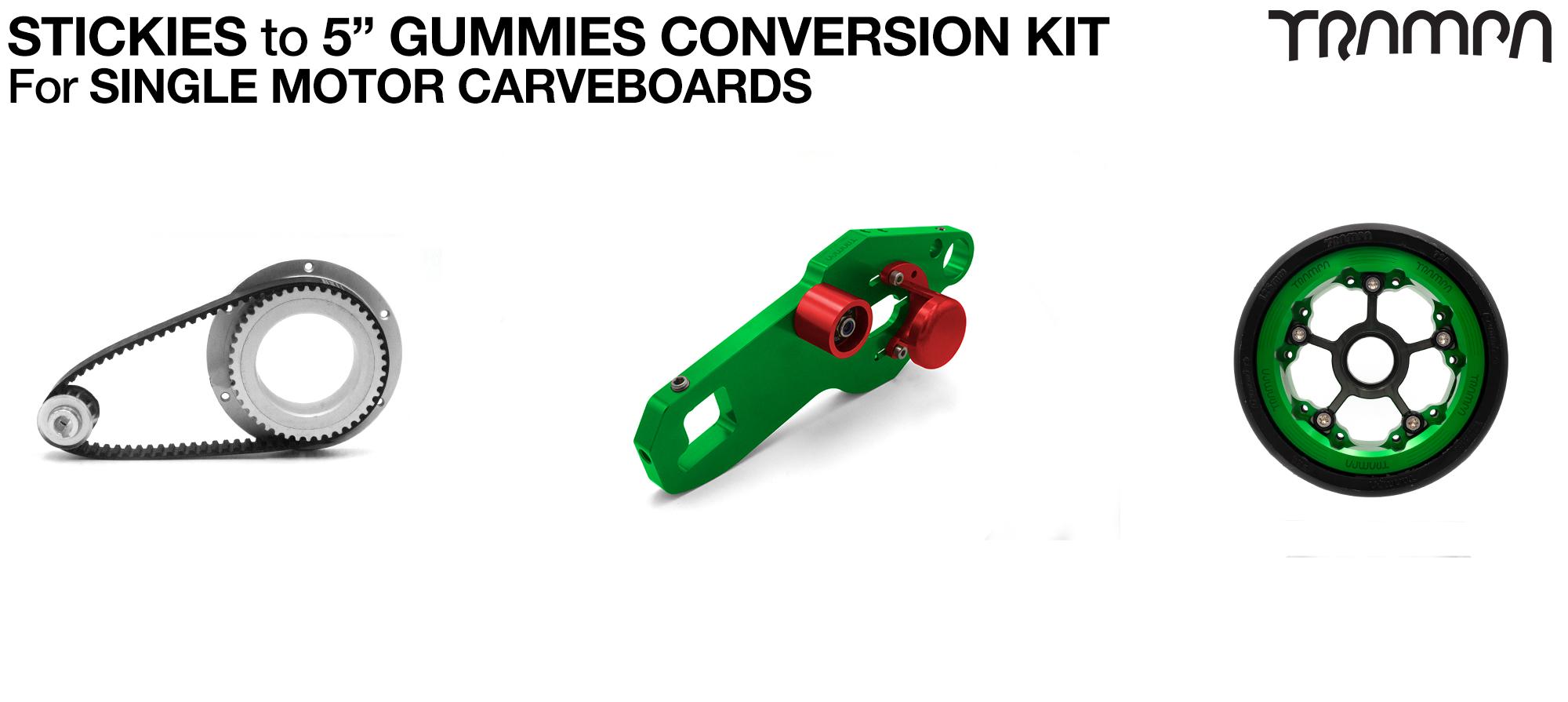 Street to GUMMIES Carveboard complete Conversion kit with 4x Custom GUMMIES SUPERSTAR wheels - Single mount