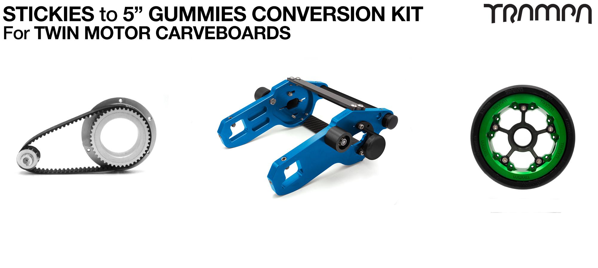 Street to GUMMIES Carveboard complete Conversion kit with 4x Custom GUMMIES SUPERSTAR wheels & TWIN Motor Mounts