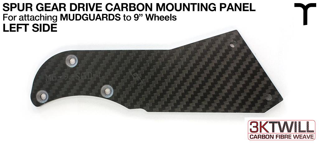 9 inch Mud Guard 3mm Carbon Fibre SPUR GEAR DRIVE Mounting Panel - LEFT Part 3