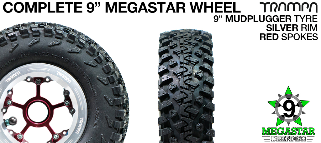SILVER 9 inch Deep-Dish MEGASTARS Rim with BLACK Spokes & 9 Inch MUD-PLUGGER Tyres