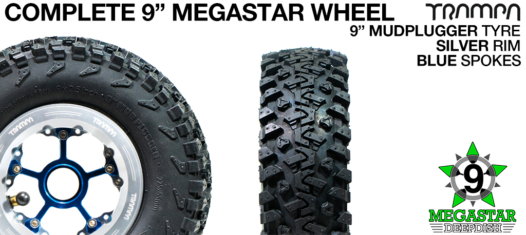 SILVER 9 inch Deep-Dish MEGASTARS Rim with BLUE Spokes & 9 Inch MUD-PLUGGER Tyres