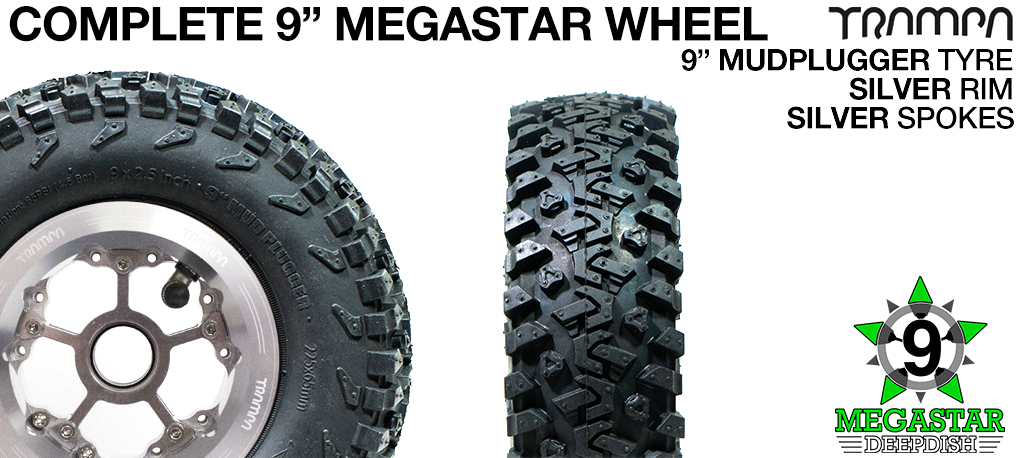 SILVER 9 inch Deep-Dish MEGASTARS Rim with SILVER Spokes & 9 Inch MUD-PLUGGER Tyres