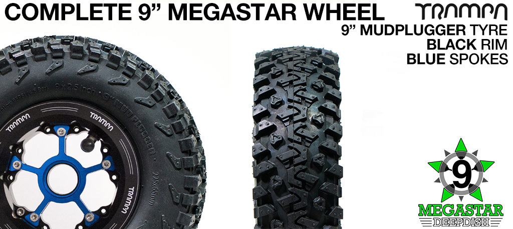 BLACK 9 inch Deep-Dish MEGASTARS Rim with BLUE Spokes & 9 Inch MUD-PLUGGER Tyres