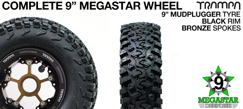 BLACK 9 inch Deep-Dish MEGASTARS Rim with BRONZE Spokes & 9 Inch MUD-PLUGGER Tyres