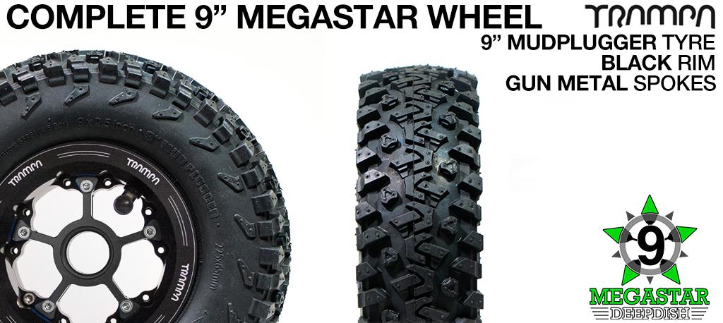 BLACK 9 inch Deep-Dish MEGASTARS Rim with GUN METAL Spokes & 9 Inch MUD-PLUGGER Tyres