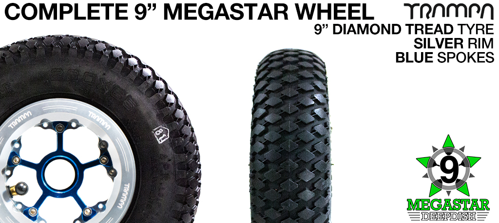 SILVER 9 inch Deep-Dish MEGASTARS Rim with BLUE Spokes & 9 Inch DIAMOND TREAD Tyres