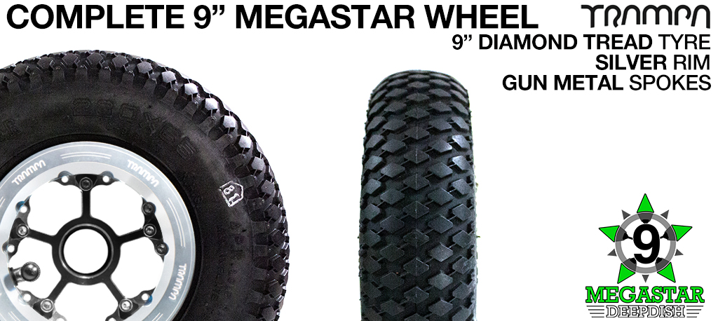 SILVER 9 inch Deep-Dish MEGASTARS Rim with GUN METAL Spokes & 9 Inch DIAMOND TREAD Tyres