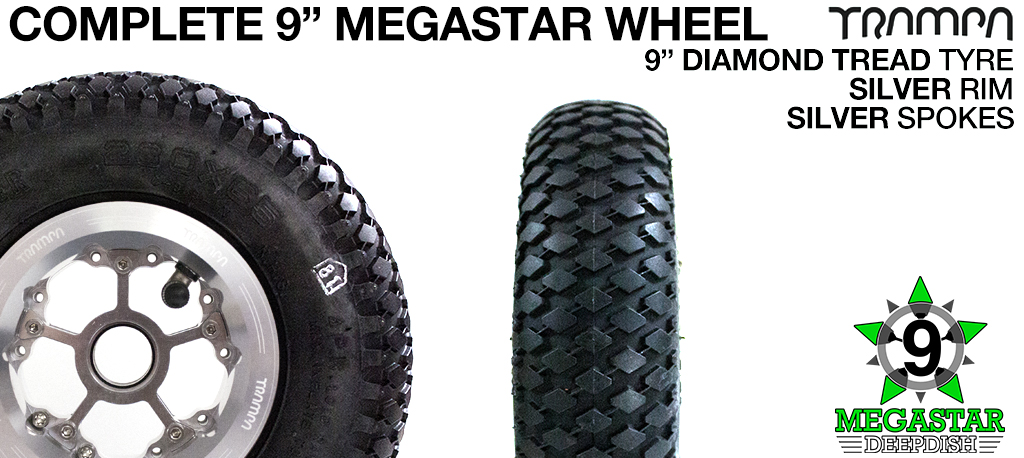 SILVER 9 inch Deep-Dish MEGASTARS Rim with SILVER Spokes & 9 Inch DIAMOND TREAD Tyres