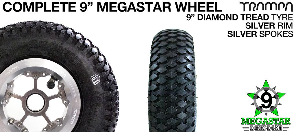 SILVER 9 inch Deep-Dish MEGASTARS Rim with SILVER Spokes & 9 Inch DIAMOND TREAD Tyres